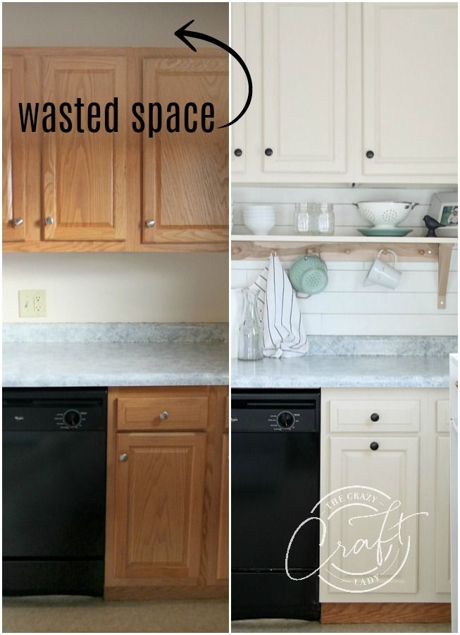 Learn how to raise kitchen cabinets to the ceiling and add a floating shelf unde...
