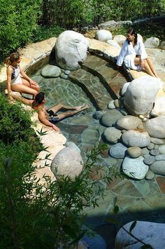 Invigorating garden design with a small plunge pool made of stones