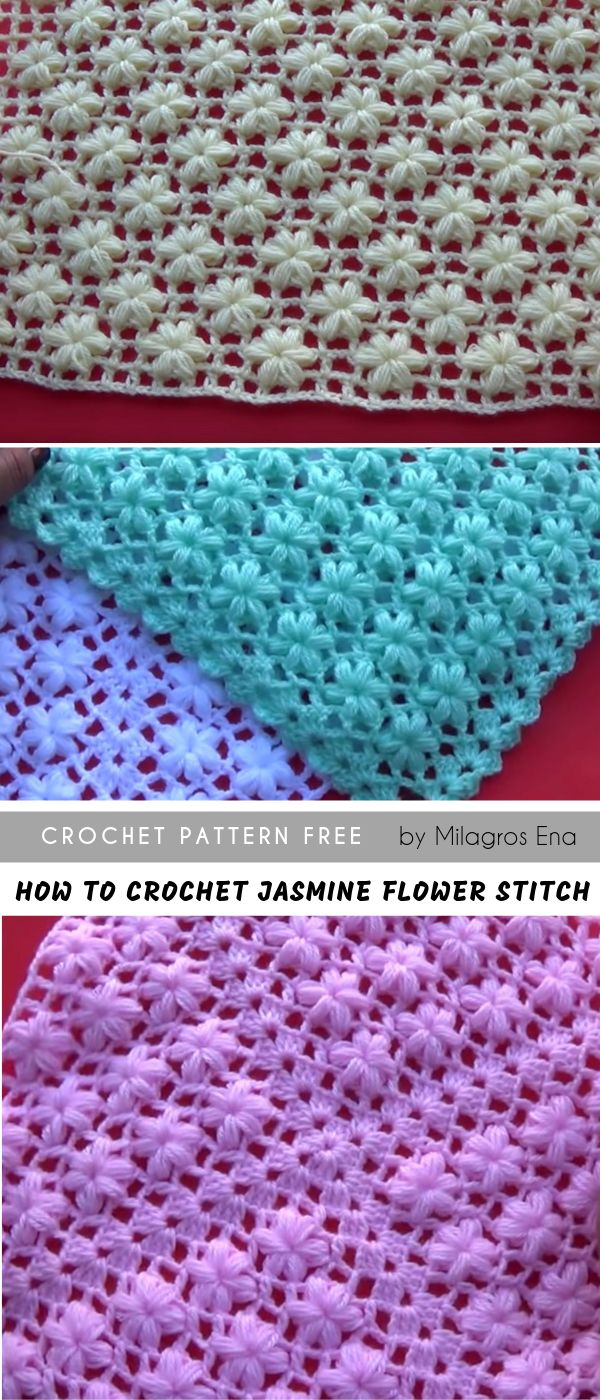 How to easily crochet The Jasmine Flower Stitch Free Crochet Pattern in English ...