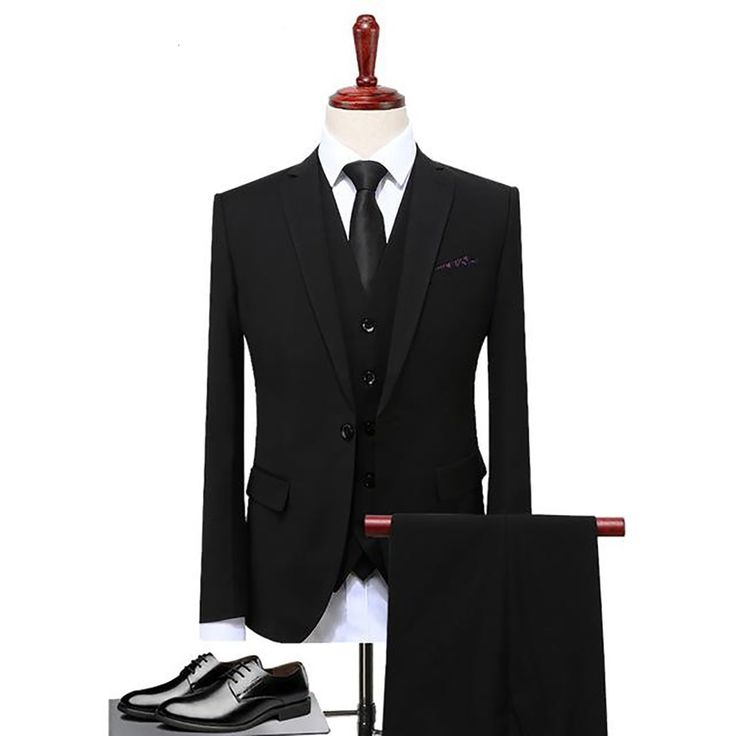 Men's Jacket Vest and Pants Suit 3pcs/set Plus Size Slim Fit Casual for Wedd...
