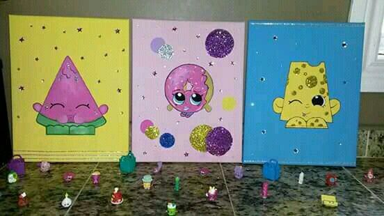 Hand painted Shopkins on canvas #DIY #shopkins #painting #bedroom #budget…