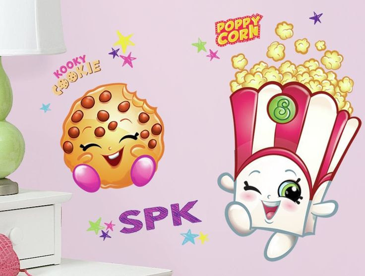 Poppy Corn and Kooky Cookie Shopkins Peel and Stick Giant Wall Decals