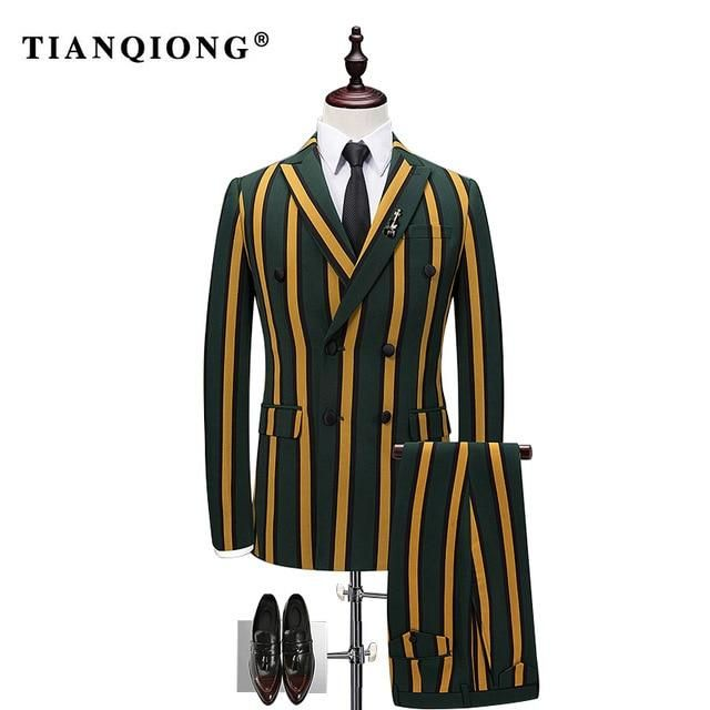 TIAN QIONG Vertical Stripes 3 Piece Suit Men Korean Fashion Business Mens Suits ...