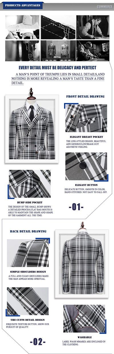 Plaid Double-breasted 3 Piece Suit Men Korean Fashion Business Mens Su - chicmax...