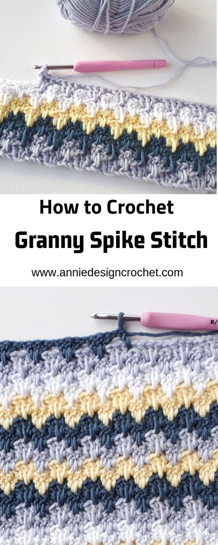 step by step crochet stitch tutorial for granny spike stitch. Easy pattern perfe...