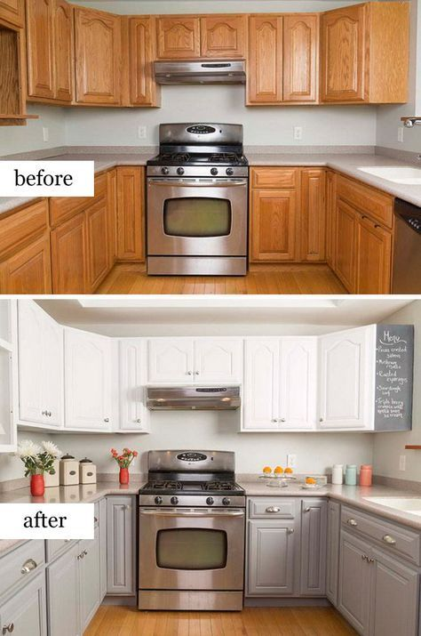 Pretty before and after the conversion of the kitchen - #dem #der #kitchen # kitchen # after #U ...
