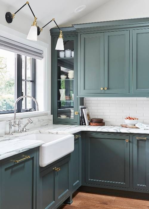 2019 interior decor trends, blue kitchen cabinets, kitchen interior decor ideas ...