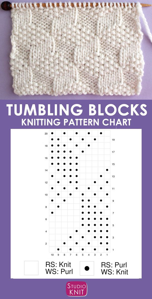 Tumbling Moss Blocks Stitch Knitting Pattern creates an illusion with 3 various ...