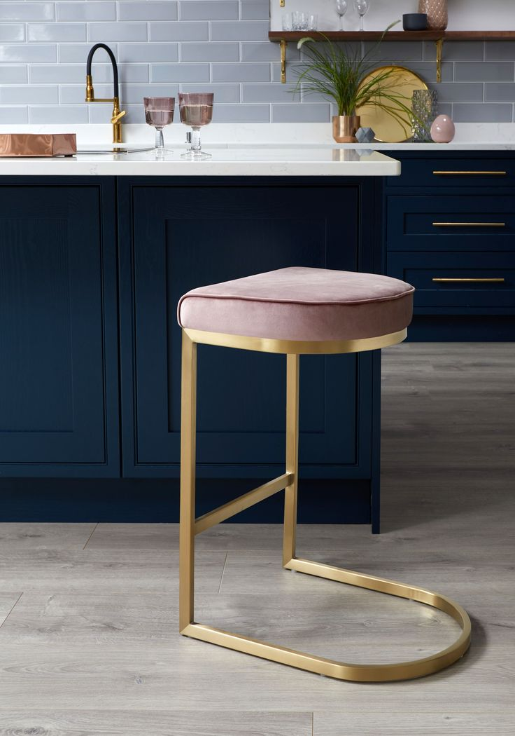 Our Form Brushed Brass and Blush Pink Velvet Barstool looks great against dark b...