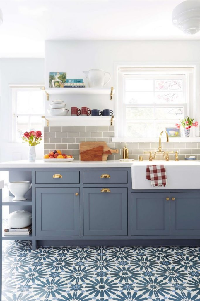 Emily Henderson blue grey kitchen with concrete tiles in bold pattern