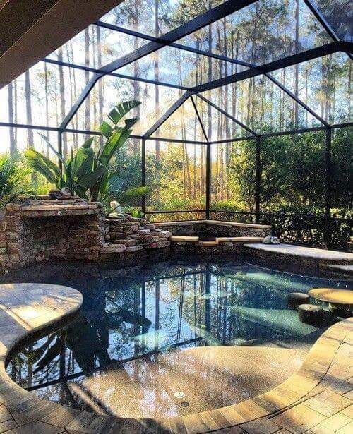 The landscaping of a swimming pool area is different for each ...