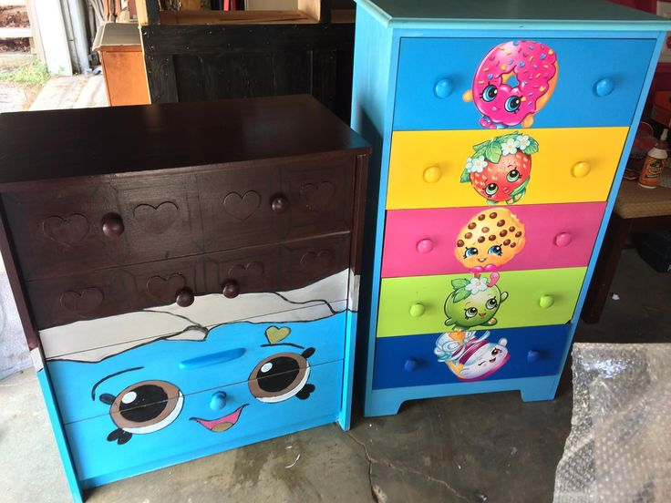 SHOPKINS kid's dressers.  Cheeky Chocolate 4 drawer dresser.  5 drawer Shopk...