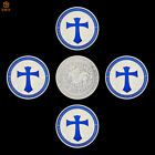 5Pcs Templar Knight Crusader Blue Cross Shield Silver Plated Metal Souvenir Coin...