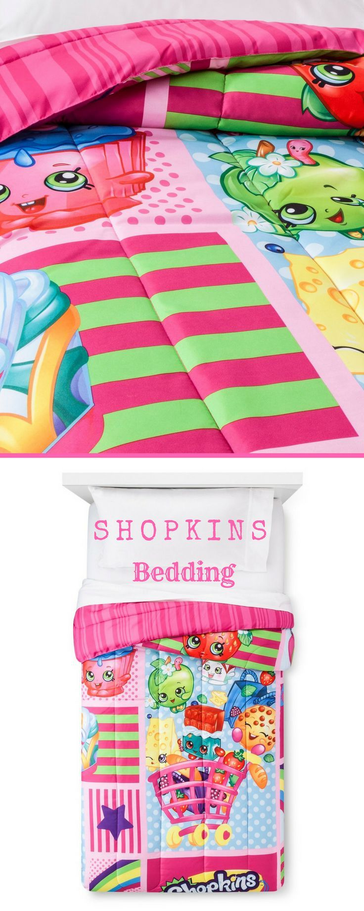 Adorable Shopkins Kids bedding! Shop Shopkins kids bedroom ideas! So Bright and ...