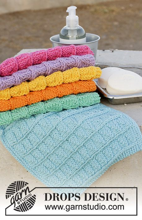 Rainbow Waffles / DROPS 189-12 - Knitted cloth with textured pattern. The work ...