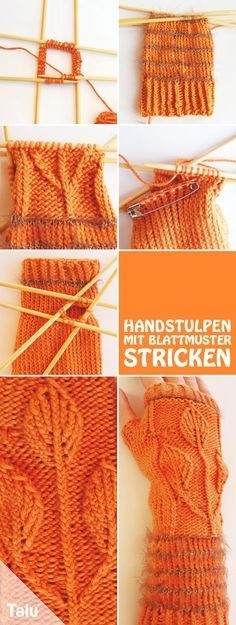 Free Instructions - hand cuffs knit with leaf pattern - Talu.de