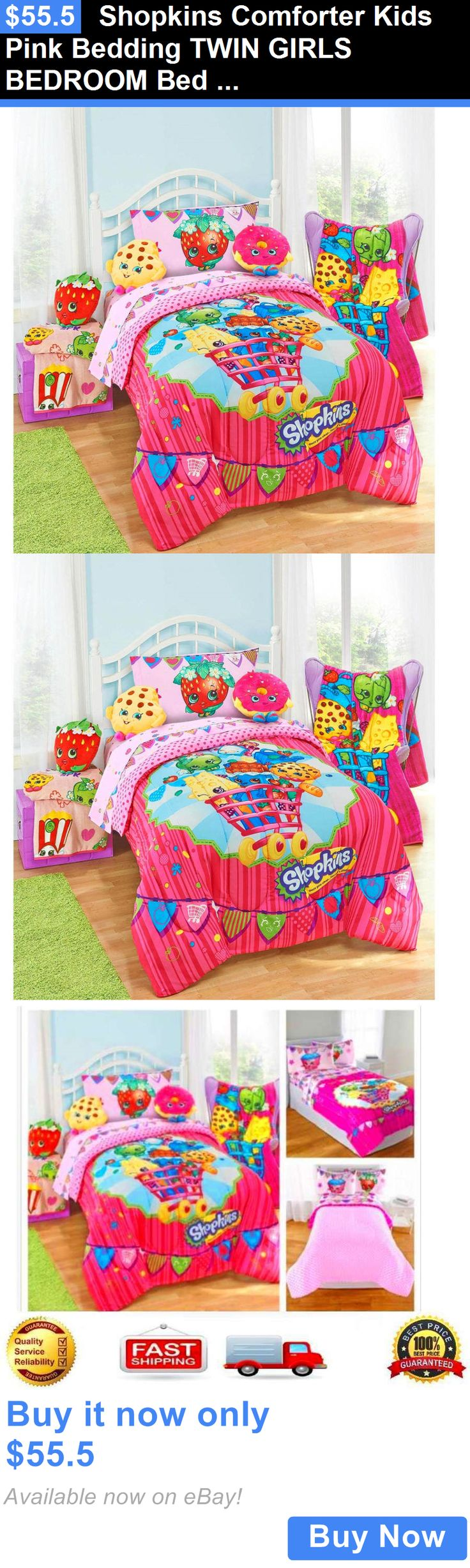 Kids at Home: Shopkins Comforter Kids Pink Bedding Twin Girls Bedroom Bed Cartoo...