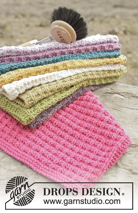 "Waffle Love - Knitted DROPS Dish Cloth in ""Cotton Light"" with Structural ..."