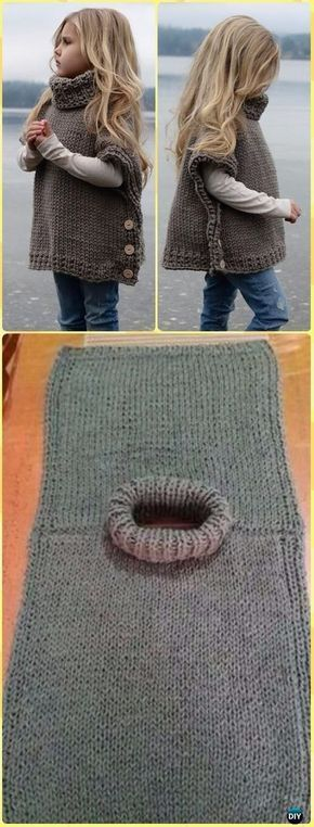 Knit Azel Sweater Poncho Pattern by Heidi May - Knitting Baby Sweater Outwear ...
