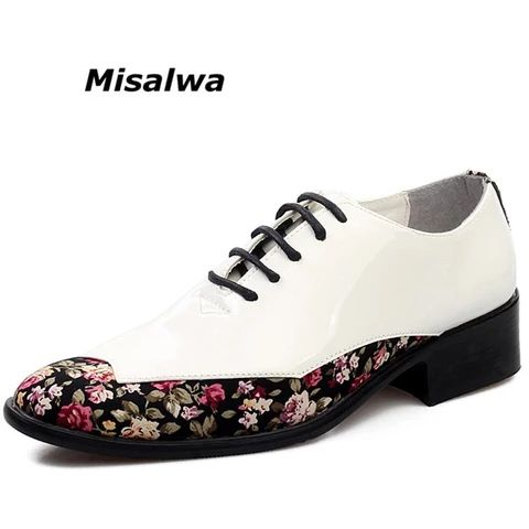 Misalwa Men's Korean Lace Up Dress Shoes Comfortable Floral Pattern De – B...