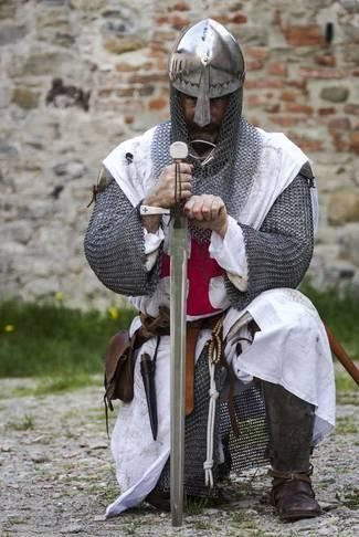 Photographic Print: Historical Reenactment: Templar Knight with Sword and Chain ...