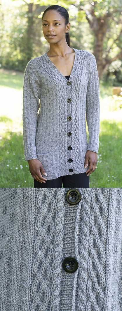 Free Knitting Pattern for a Diamond Cardigan. Beautiful long cardigan with cable...