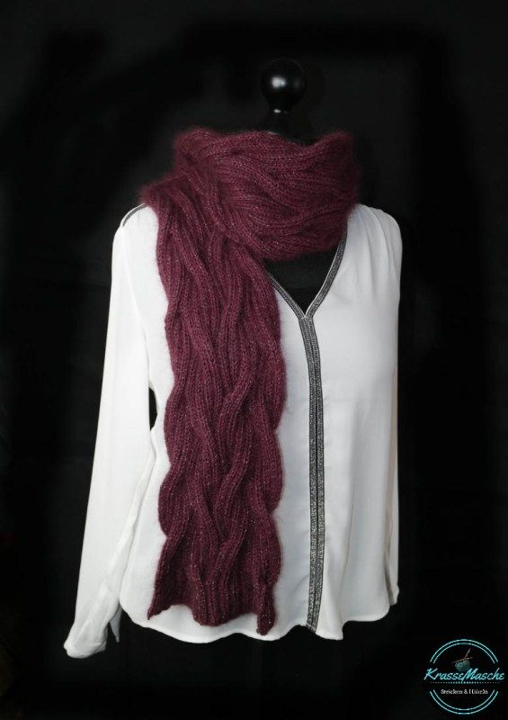 knit lana grossa scarf burgundy creme stitch instructions scarf