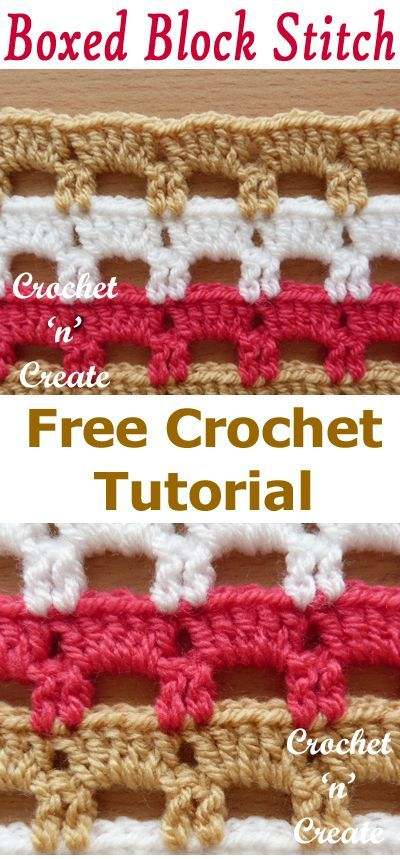 Crochet boxed block stitch, FREE tutorial on how to do this design. #crochetncre...