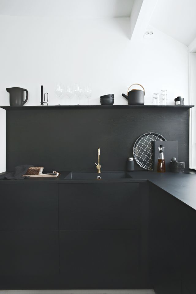 "// Sponsored Post ""Black on black"" Black kitchens are very hot nowadays."