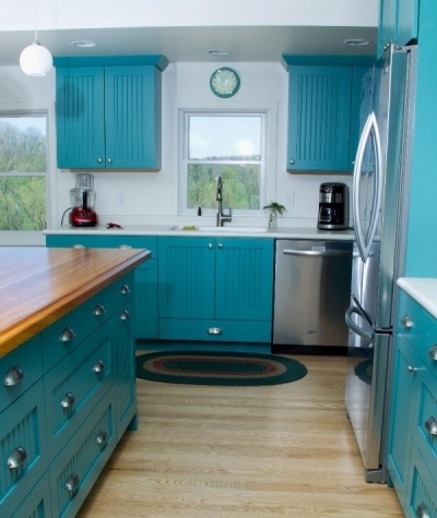 Teal #Blue Transitional #Cottage #Kitchen with Dura Supreme #Cabinetry by Diana,...
