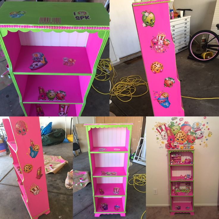 Shopkins DIY display shelf- Turn an old book case into a toy display