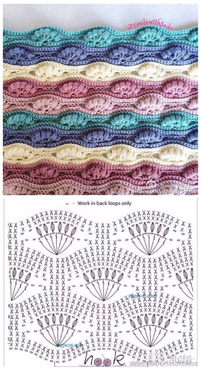 Bobbled Fan Crochet Stitch. Diagram ONLY More Patterns Like This!