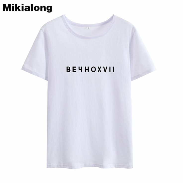 Mikialong 2018 Harry Style Letter Summer Tops for Women Korean Fashion O-neck T-...