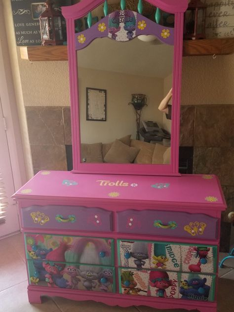 Beautiful Trolls dresser we did using decoupage Imagine Your Furniture is our Fa...