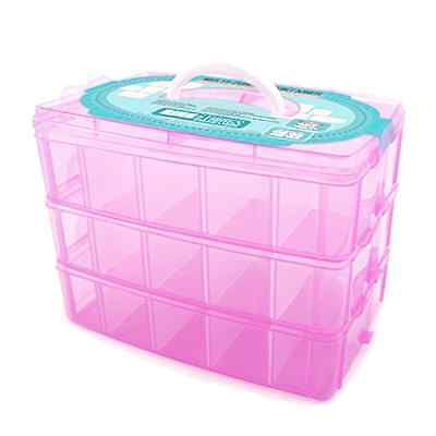 Stackable Storage Container Case Compatible with Shopkins Toys 3 Tiers Pink New