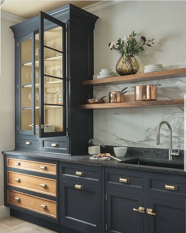 21 Gorgeous Dark Blue Kitchen Cabinets - lmolnar