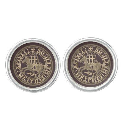 Crusader Templar Knights Seal logo Deus Vult gold Cufflinks - gold gifts golden ...