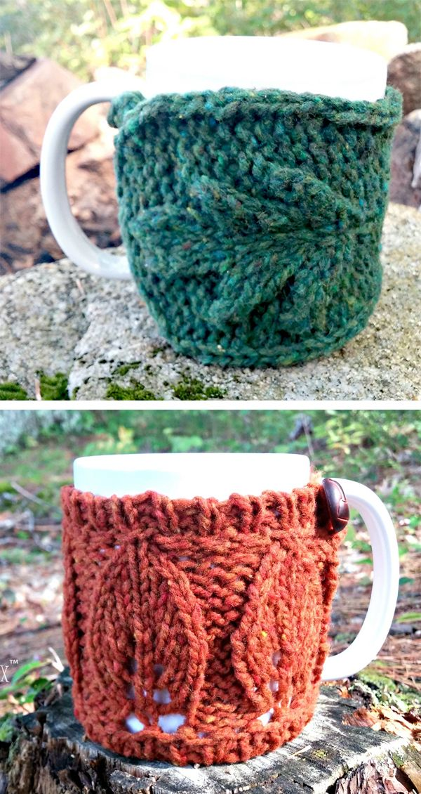 Knitting Pattern Set for Oak and Elm Mug Cozies - A duo of buttoned cup sleeves ...