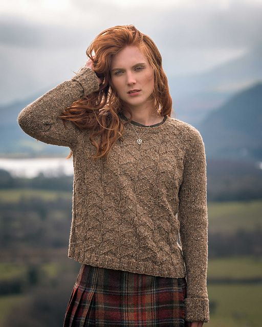 Textured sweater without shaping knitting pattern. ArranmoreMirehouse pattern by...