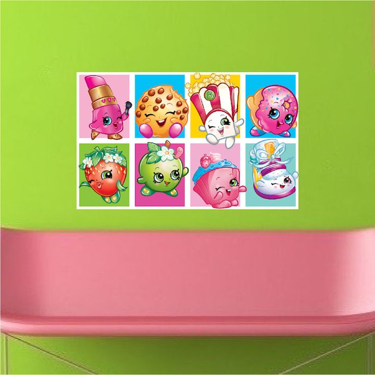 Cute Shopkin Wall Mural Decal - Girls Shopkin Bedroom Decals - Shopkin Wall Deca...