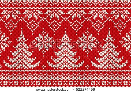 Winter Holiday Seamless Knitting Pattern with a Christmas Trees. Knitting Sweate...