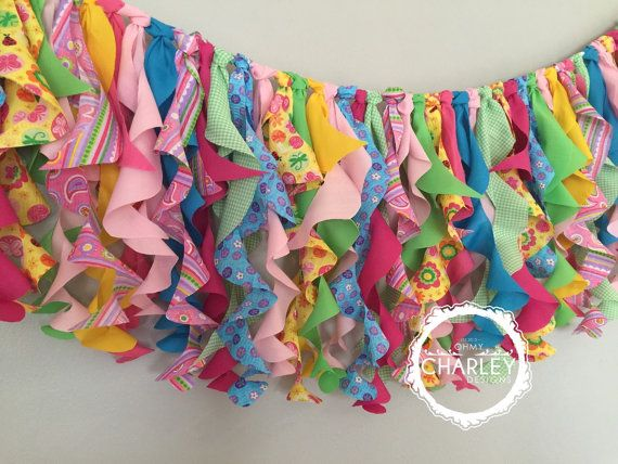 Curly fabric garland made using various shades and patterns inspired by SHOPKINS...
