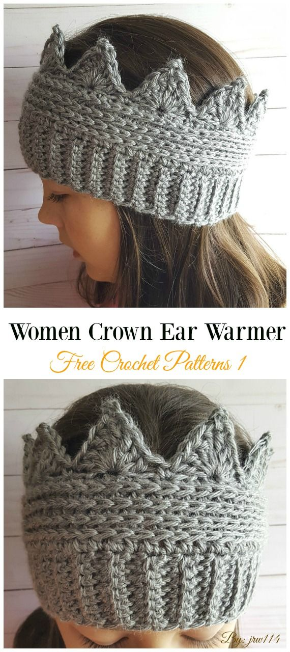 Crown Ear Warmer Crochet Free Pattern - Trending Women #EarWarmer; Free #Croche...