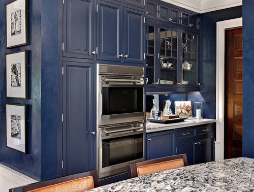 Colored Kitchen Cabinets - Dark Blue with stainless steel - how does it make you...