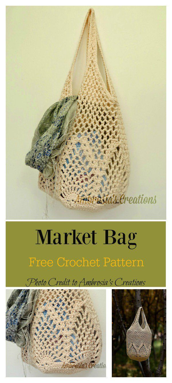 Crochet Pineapple Stitches Market Bag Freeze Pattern #free crochetpattern # crocheted bag ...
