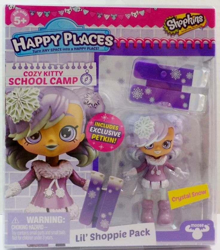 Shopkins Happy Places Crystal Snow Lil' Shoppie Pack Cozy Kitty School Camp ...