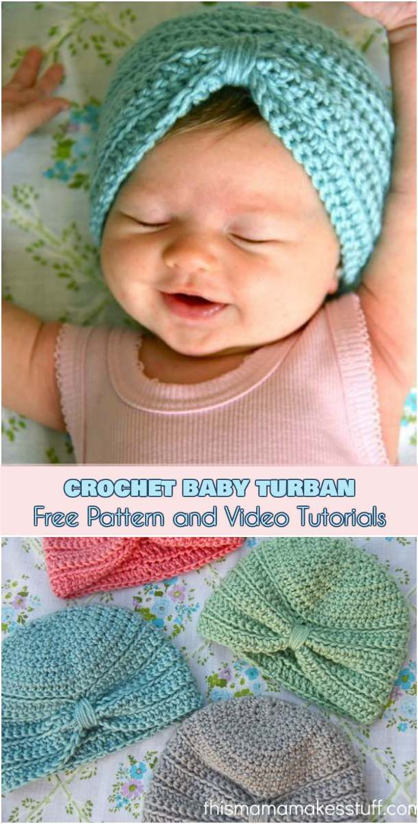 Crochet Baby Turban [Free Pattern and Video Tutorials]