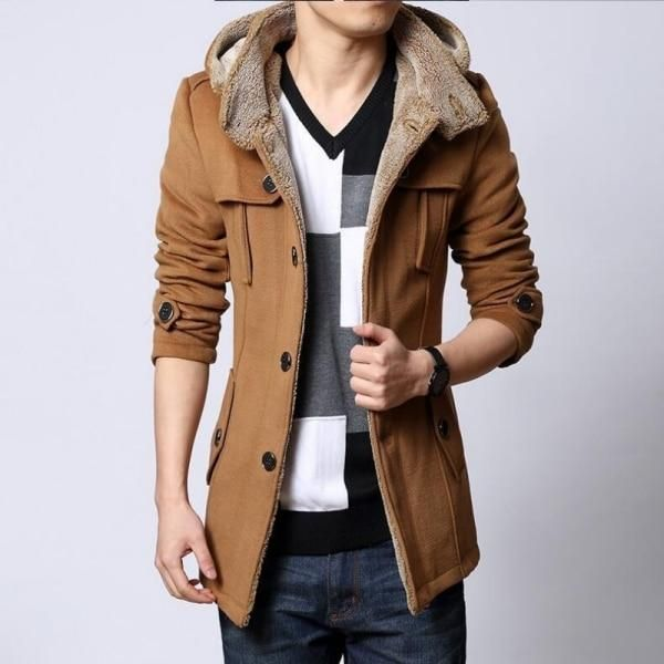 Winter Fleece Lined Wool Trench Coat Men Korean Style Slim Fit Thick Warm Windbr...