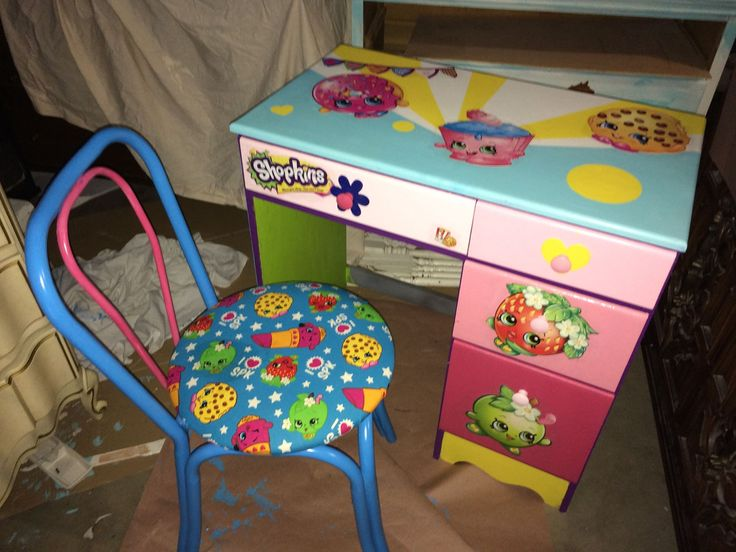 SHOPKINS custom painted diy DESK & CHAIR