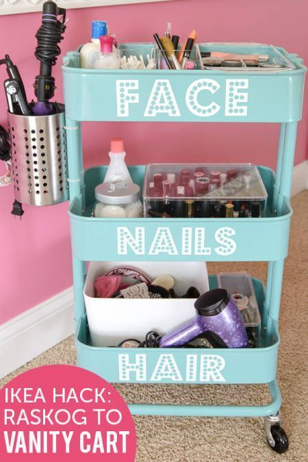 Rolling Vanity - I like the idea of attaching the metal tin for the hair tools. ...